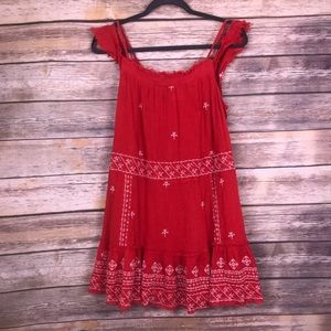 FREE PEOPLE Boho Rust Embroidered Tunic Dress